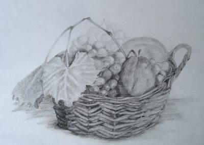 Obstkorb - Zeichnung ©Ann-Kristin Iwersen 2018